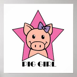Chica del cerdo poster