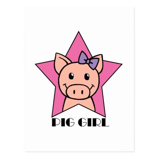 Chica del cerdo tarjetas postales
