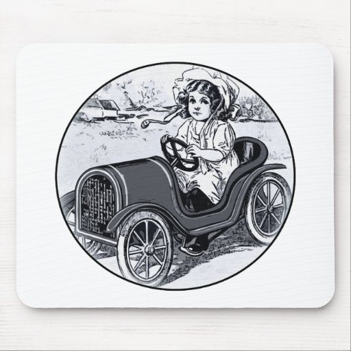 Chica del coche de carreras alfombrilla de ratón