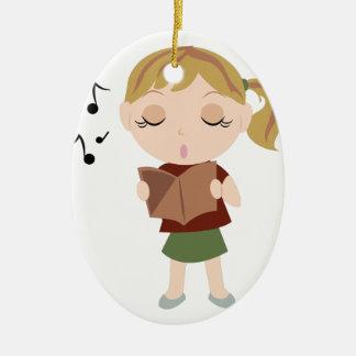 Chica del coro adorno navideño ovalado de cerámica