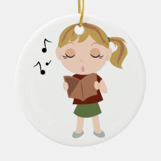 Chica del coro adorno navideño redondo de cerámica