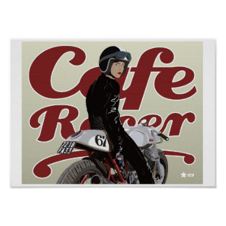 Chica del corredor del café en la moto de Moto Guz Posters