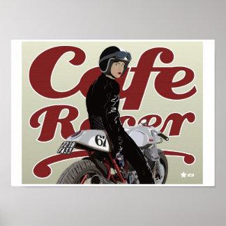 Chica del corredor del café en la moto de Moto Póster