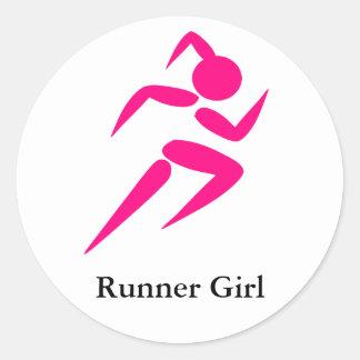 ¡Chica del corredor! Etiquetas Redondas