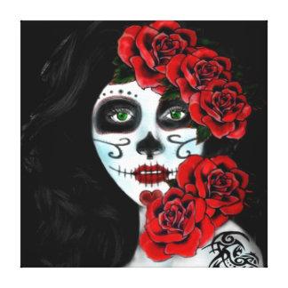 Chica del cráneo, cráneo de la señora impresiones en lona