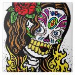 Chica del cráneo del azúcar azulejo cuadrado grande