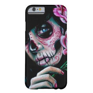 Chica del cráneo del azúcar de la floración de la funda de iPhone 6 barely there