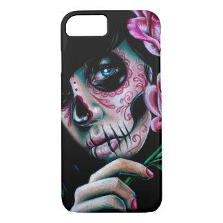 Chica del cráneo del azúcar de la floración de la funda iPhone 7