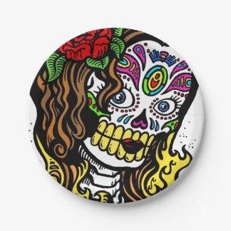 Chica del cráneo del azúcar plato de papel de 7 pulgadas