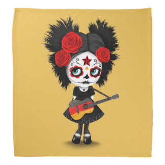 Chica del cráneo del azúcar que toca la guitarra bandana