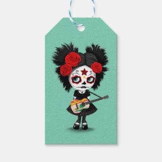 Chica del cráneo del azúcar que toca la guitarra etiquetas para regalos