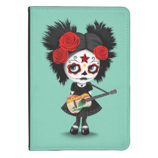 Chica del cráneo del azúcar que toca la guitarra funda de kindle