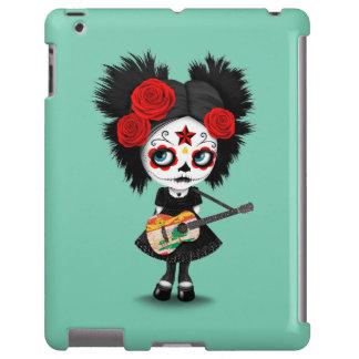 Chica del cráneo del azúcar que toca la guitarra funda para iPad