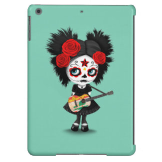 Chica del cráneo del azúcar que toca la guitarra funda para iPad air