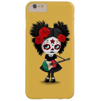 Chica del cráneo del azúcar que toca la guitarra funda para iPhone 6 plus barely there