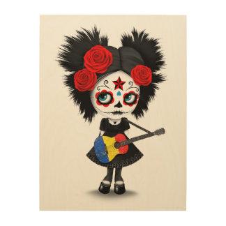 Chica del cráneo del azúcar que toca la guitarra impresiones en madera