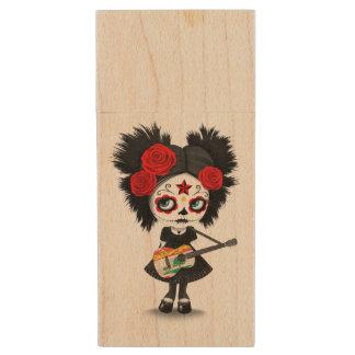 Chica del cráneo del azúcar que toca la guitarra memoria USB 3.0 de madera