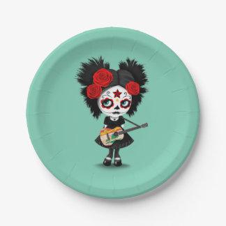 Chica del cráneo del azúcar que toca la guitarra plato de papel de 7 pulgadas