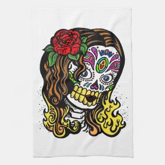 Chica del cráneo del azúcar toalla