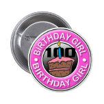 Chica del cumpleaños 100 años del botón pin