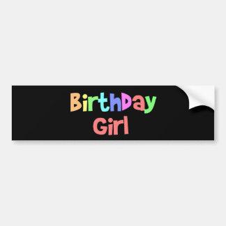 Chica del cumpleaños etiqueta de parachoque