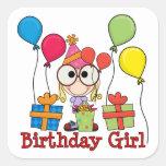 Chica del cumpleaños colcomanias cuadradass