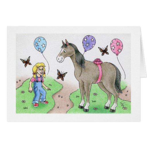Chica del cumpleaños con el caballo felicitacion