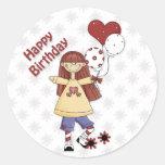 Chica del cumpleaños con impulsos pegatina redonda