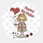 Chica del cumpleaños con impulsos y el perro pegatina redonda