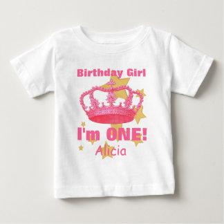 ¡Chica del cumpleaños con la corona soy UNA! Playera