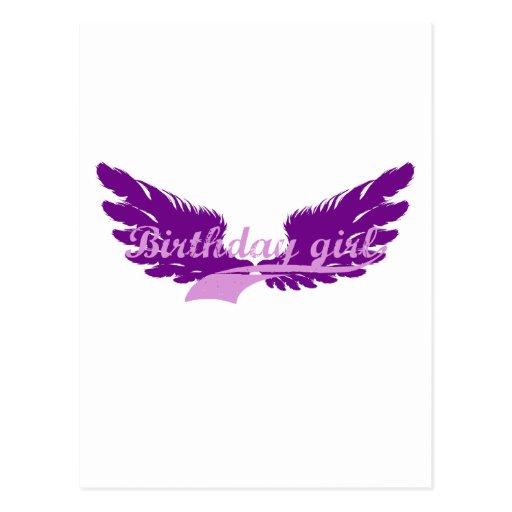 Chica del cumpleaños con las alas tarjetas postales