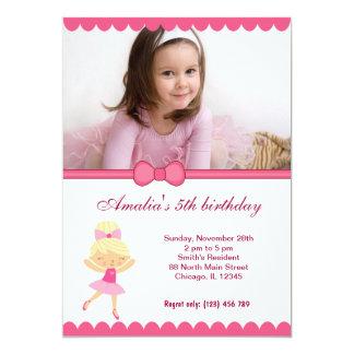 """Chica del cumpleaños de la bailarina invitación 5"""" x 7"""""""