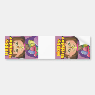 Chica del cumpleaños de la magdalena etiqueta de parachoque