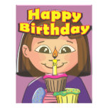 Chica del cumpleaños de la magdalena membretes personalizados