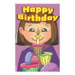 Chica del cumpleaños de la magdalena papelería personalizada
