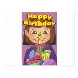 Chica del cumpleaños de la magdalena postal