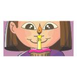 Chica del cumpleaños de la magdalena tarjetas fotográficas
