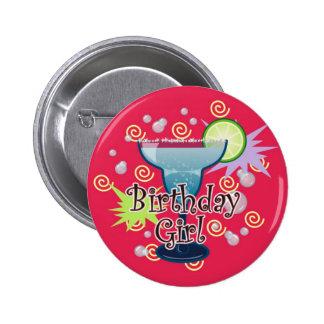 Chica del cumpleaños de Margarita Pin Redondo De 2 Pulgadas