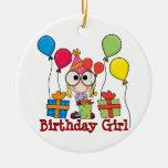 Chica del cumpleaños ornaments para arbol de navidad