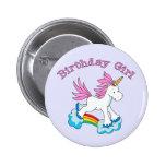 Chica del cumpleaños del arco iris del unicornio pin