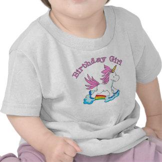 Chica del cumpleaños del arco iris del unicornio camiseta