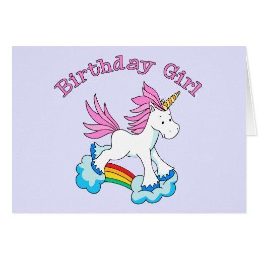 Chica del cumpleaños del arco iris del unicornio felicitaciones