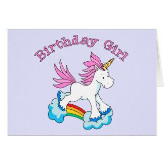 Chica del cumpleaños del arco iris del unicornio tarjeta pequeña
