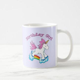 Chica del cumpleaños del arco iris del unicornio taza de café