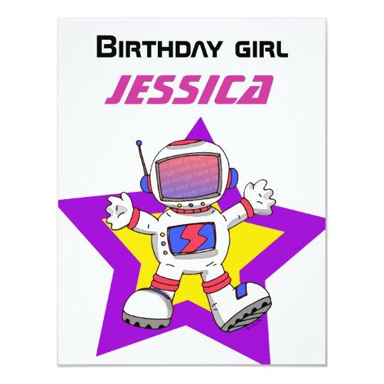 """Chica del cumpleaños del astronauta invitación 4.25"""" x 5.5"""""""