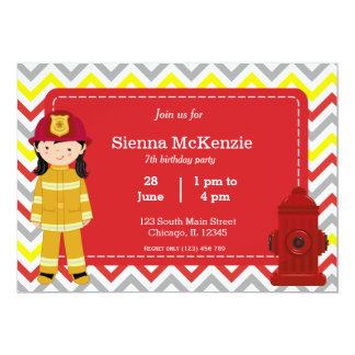 """Chica del cumpleaños del bombero invitación 5"""" x 7"""""""