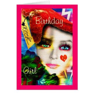 Chica del cumpleaños del rock-and-roll tarjeta de felicitación
