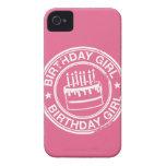 Chica del cumpleaños - efecto blanco del sello de  iPhone 4 Case-Mate fundas