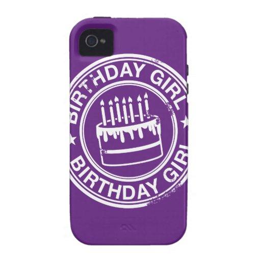 Chica del cumpleaños - efecto blanco del sello de Case-Mate iPhone 4 carcasas