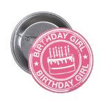 Chica del cumpleaños - efecto blanco del sello de  pin